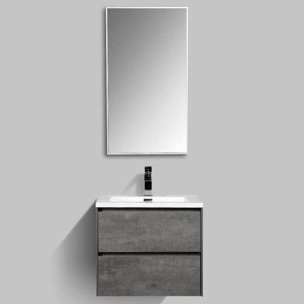 AVA Enzo 600 Vanities Double Drawer Wall Hung Cabinets Concrete Colour