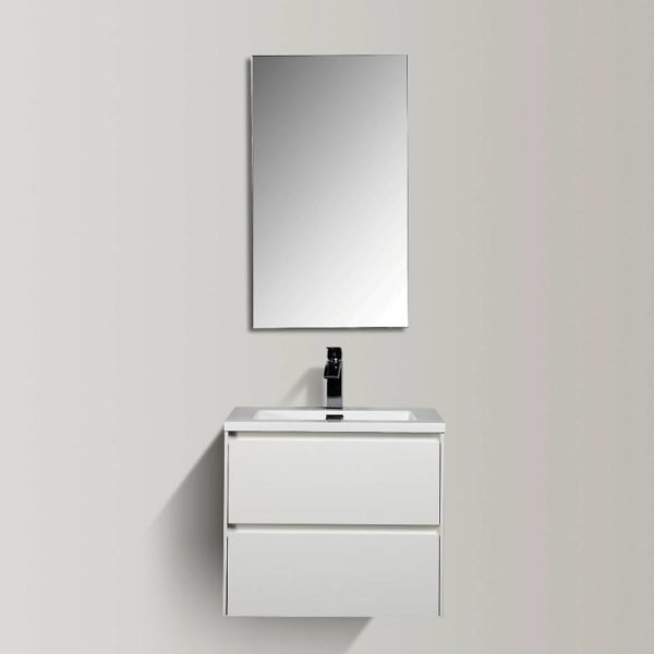Enzo 600 Vanities White Gloss Colour Wall Hung Cabinets Double Drawer