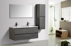 AVA Enzo 1200 Vanities Double Drawer Wall Hung Cabinets Concrete Colour Modern Bathroom Side Cabinets