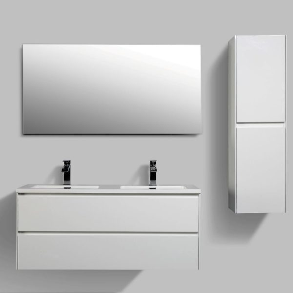 AVA Enzo 1200 Vanities Double Drawer Wall Hung Cabinets White Gloss Colour Side Cabinets