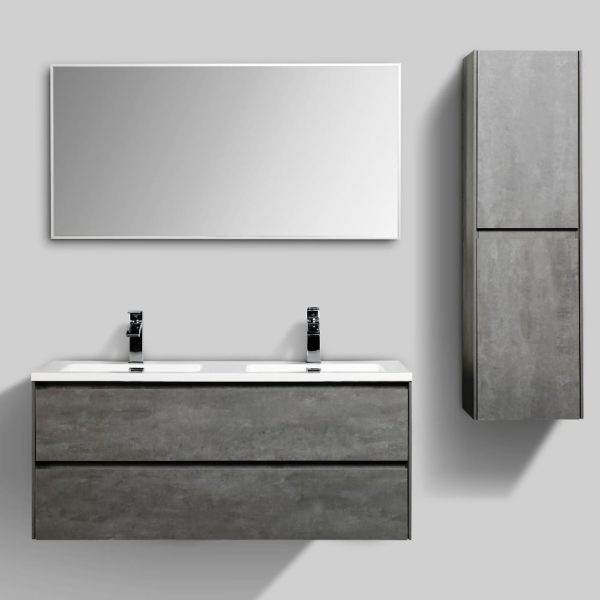 Enzo 1200 Vanities Concrete Colour Wall Hung Cabinets Double Drawer Side Cabinets