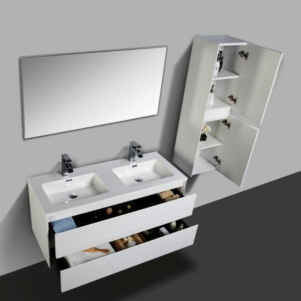 Wall Hung Vanities White Gloss Colour Wall Hung Cabinets With Double Open Drawers Side Cabinets