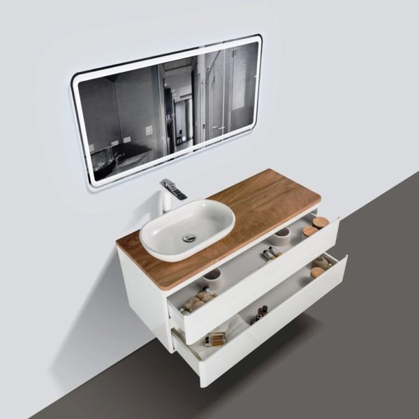 1200 Wall Hung Vanities White Gloss Colour with Double Open Drawers Birch Wood Top and Florence Basin