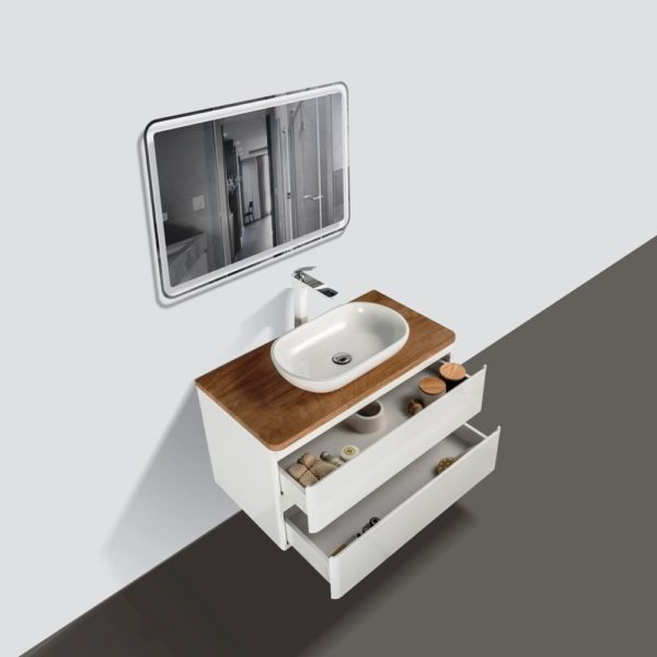 900 Wall Hung Vanities White Gloss Colour with Double Open Drawers Birch Wood Top and Florence Basin