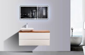 AVA Lazio 1200 Cabinets Double Drawer Wall Hung Vanities in White Gloss Colour with Birch Wood Top and Florence Basin