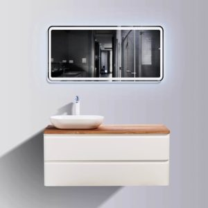 AVA Lazio 1200 Vanities Double Drawer Wall Hung Cabinets White Gloss Colour with Birch Wood Top and Florence Basin