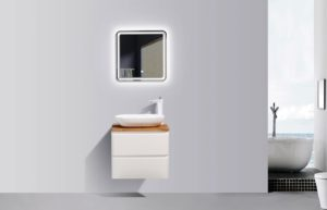 AVA Lazio 600 Cabinets Double Drawer Wall Hung Vanities in White Gloss Colour with Birch Wood Top and Florence Basin