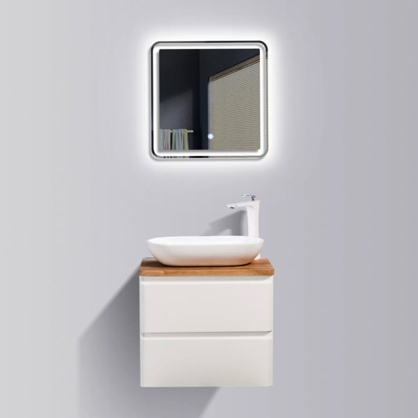 AVA Lazio 600 Vanities Double Drawer Wall Hung Cabinets in White Gloss Colour with Birch Wood Top and Florence Basin