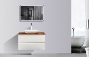 AVA Lazio 900 Cabinets Double Drawer Wall Hung Vanities in White Gloss Colour with Birch Wood Top and Florence Basin