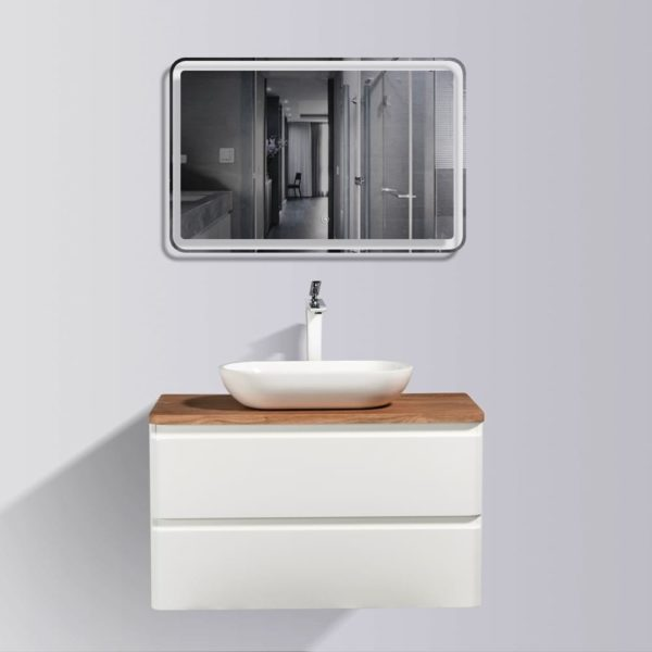 AVA Lazio 900 Vanities Double Drawer Wall Hung Cabinets White Gloss Colour with Birch Wood Top and Florence Basin