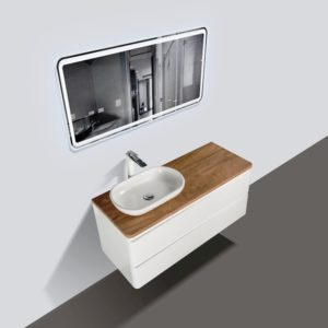 Lazio 1200 Wall Hung Vanities Double Drawer White Gloss Colour with Birch Wood Top and Florence Basin
