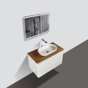 Lazio 900 Wall Hung Vanities Double Drawer White Gloss Colour with Birch Wood Top and Florence Basin