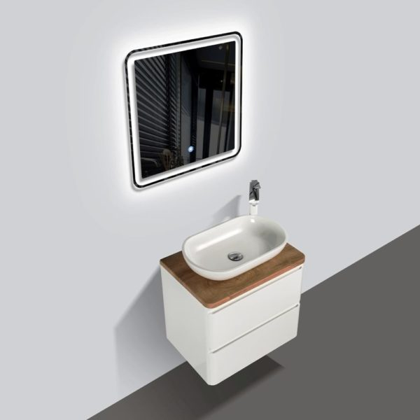 Lazio Wall Hung Vanities Double Drawer White Gloss Colour with Birch Wood Top and Florence Basin