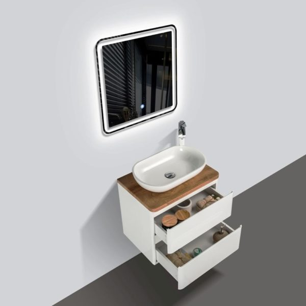 Wall Hung Vanities White Gloss Colour with Double Open Drawers Birch Wood Top and Florence Basin